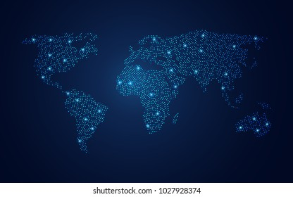 vector of dotted world map in futuristic style, concept of communication world