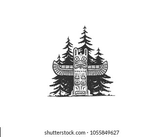 Vector dotwork indian totem in the woods. Simple sketchy hand drawn illustration of a native american shrine.