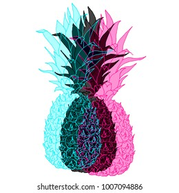 Vector double exposure abstract pineapple fruit. Vivid cmyk colors concept design with juicy ananas. Easy to use and modify for trendy modern design projects