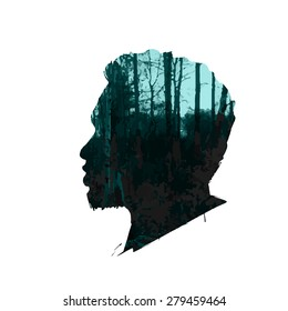 Vector double exposure illustration. Man silhouette plus abstract nature background.Black and white double exposure portrait of young man combined with photograph of nature. Vector illustration.