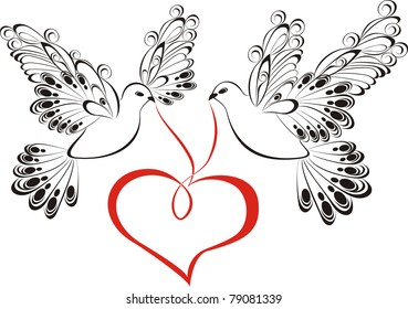 Vector dove with heart shaped