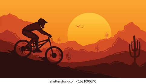 Vector downhill mountain biking illustration with rider on a bike and desert wild nature landscape with cacti, desert herbs and mountains. Downhill, enduro, cross-country biking banner