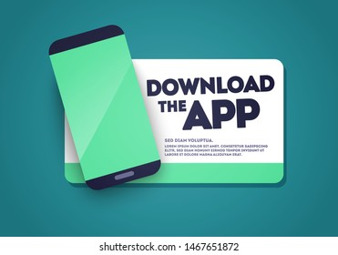 Vector Download The App Sticker with Phone and Screenshot Space