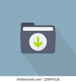 Vector download folder icon in flat style