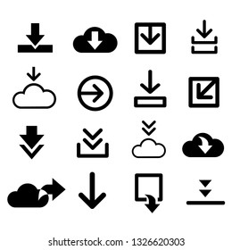 vector download icon for creating button, bar and web app icons, download now symbol, vector arrow down document file symbol icon set