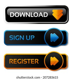 Vector download, sign up and register black buttons with arrows - labels, stiskers on the white background