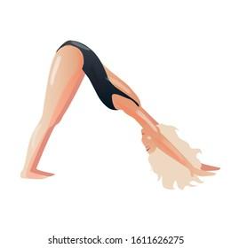 Vector downward facing dog Adho mukha svanasana yoga pose girl isolated