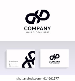 Vector dp logo icon company sign vector design with brand business card.