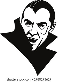Vector Dracula Portrait in Black and White