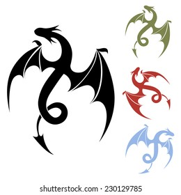 Vector Dragon silhouette icon for tattoo and decor in different colors isolated on white background