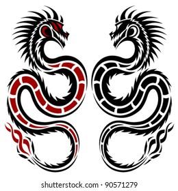 Vector dragon, tribal tattoo