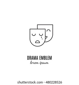 Vector drama emblem in trendy linear style isolated on white.
