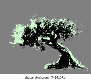 Vector draw of the askew tree without background