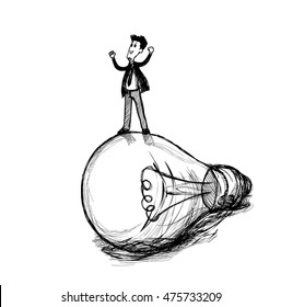 vector draw businessman standing on a light bulb for creating your own solution through vision and imagination.