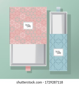 Vector Drawer Box Packaging with Pasted Colored Geometric Pattern