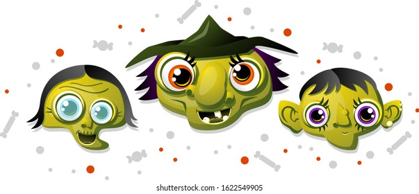 Vector drawing of 3 old cartoon witches with funny faces. One is blind with no teeth, one is missing teeth and has a hat, one has pointy ears and a pointy chin.