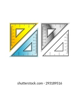 a vector drawing of 45 degree set squares