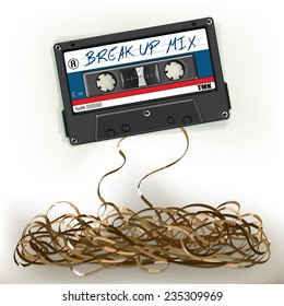 Vector drawing of a/Breakup Mix Tape/ Easy to edit layers and groups, Background layer contains meshes and transparencies. Easy to add your own text make your own mixtape. Very detailed cassette.