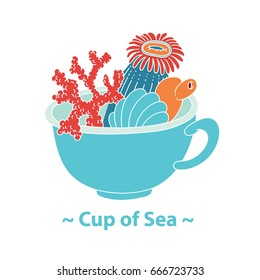 Vector drawing an allegory of the Summer Sea breakfast - a cup with sea plants corals anemones