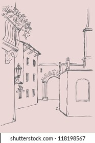 Vector drawing architectural landscape. Thoroughfare of the old monastery