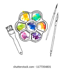 vector drawing art palette with color paints and paintbrushes, hand drawn illustration