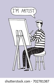 Vector drawing artist sitting on chair and painting picture