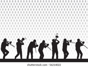 Vector drawing artist with a trombone on stage during a performance