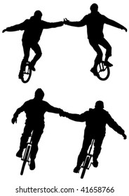 Vector drawing athletes on bicycles with one wheel
