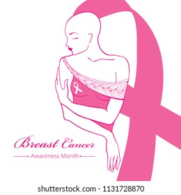 Vector drawing bald woman after chemotherapy with pink ribbon isolated on white background. Breast Cancer Awareness Month symbol. Design for international health campaign for woman in October.