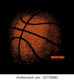 Vector drawing of a basketball on a black background, design for basketball game, grunge background.