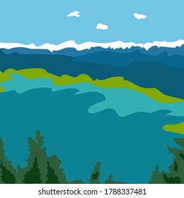 Vector drawing of a beautiful blue lake in the mountains in a flat style.