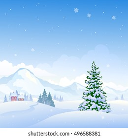 Vector drawing of a beautiful winter nature background with snowy mountains and fir trees, square backdrop