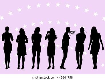 Vector drawing of beautiful young women