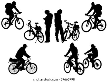 Vector drawing bicycle races and people