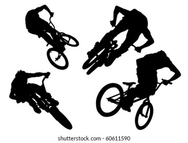 Vector drawing bicycle races. Silhouette of people