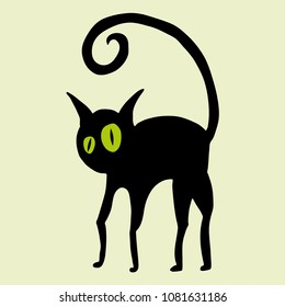 A vector drawing of a black cat with green eyes