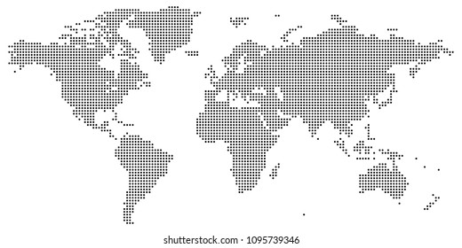 Vector drawing of Black on white dotted world map vector