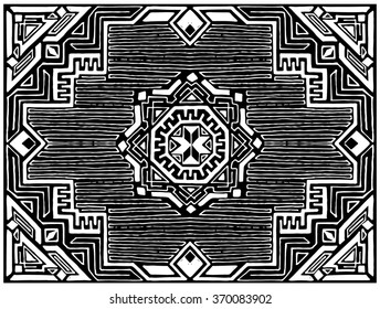 Vector drawing, black and white stencil, Persian rug, Oriental carpet ethnic.