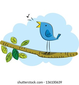 Vector drawing of a blue bird singing on the tree branch.