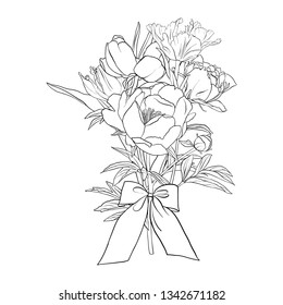 vector drawing bouquet of flowers, floral composition, hand drawn illustration