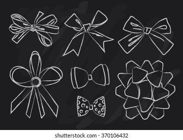Vector drawing bows and ribbons. big set. pencil sketch