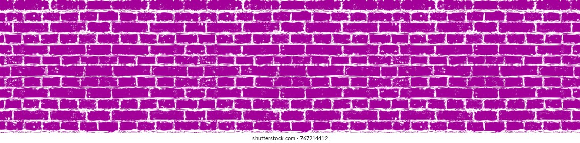 Vector drawing of a brick wall. Bright pink brick wall, seamless pattern. Seamless bright pink pattern. Grunge bright pink pattern. Element of design. Vector Eps 10.