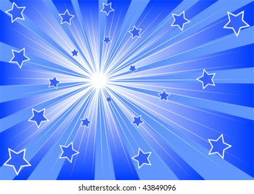 Vector drawing of bright light and stars