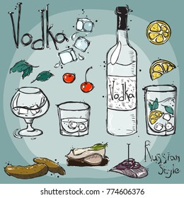 Vector. Drawing by hand. Bottle is transparent with vodka. Glasses for vodka and a glass. Snack in Russian style.