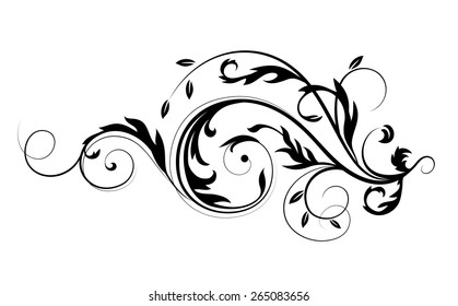 Vector drawing with calligraphic design elements. Abstract flourishes pattern.