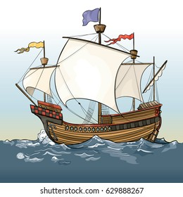 Vector drawing of a / Caravel Ship / Easy to edit coups and layer objects, easy to colorize add content to the sails etc. No effects meshes or gradients used.