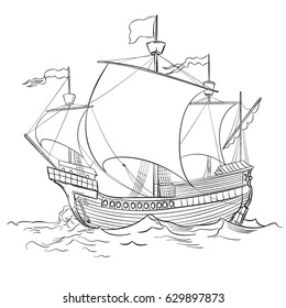 Vector drawing of a / Caravel Ship Line art / Easy to edit and colorize shape objects. No effects gradients or meshes used.