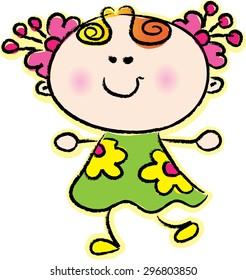 vector drawing cartoon girl