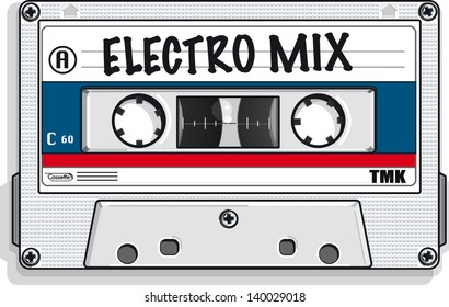 Vector drawing of a cassette tape/Mix tape/ Easy to edit layers, no gradients meshes or blends used
