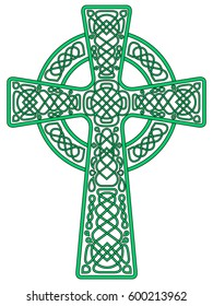 Vector drawing of a Celtic cross, green with a black stroke. Isolated color image on white background. A complex pattern with intricate knots and patterns.